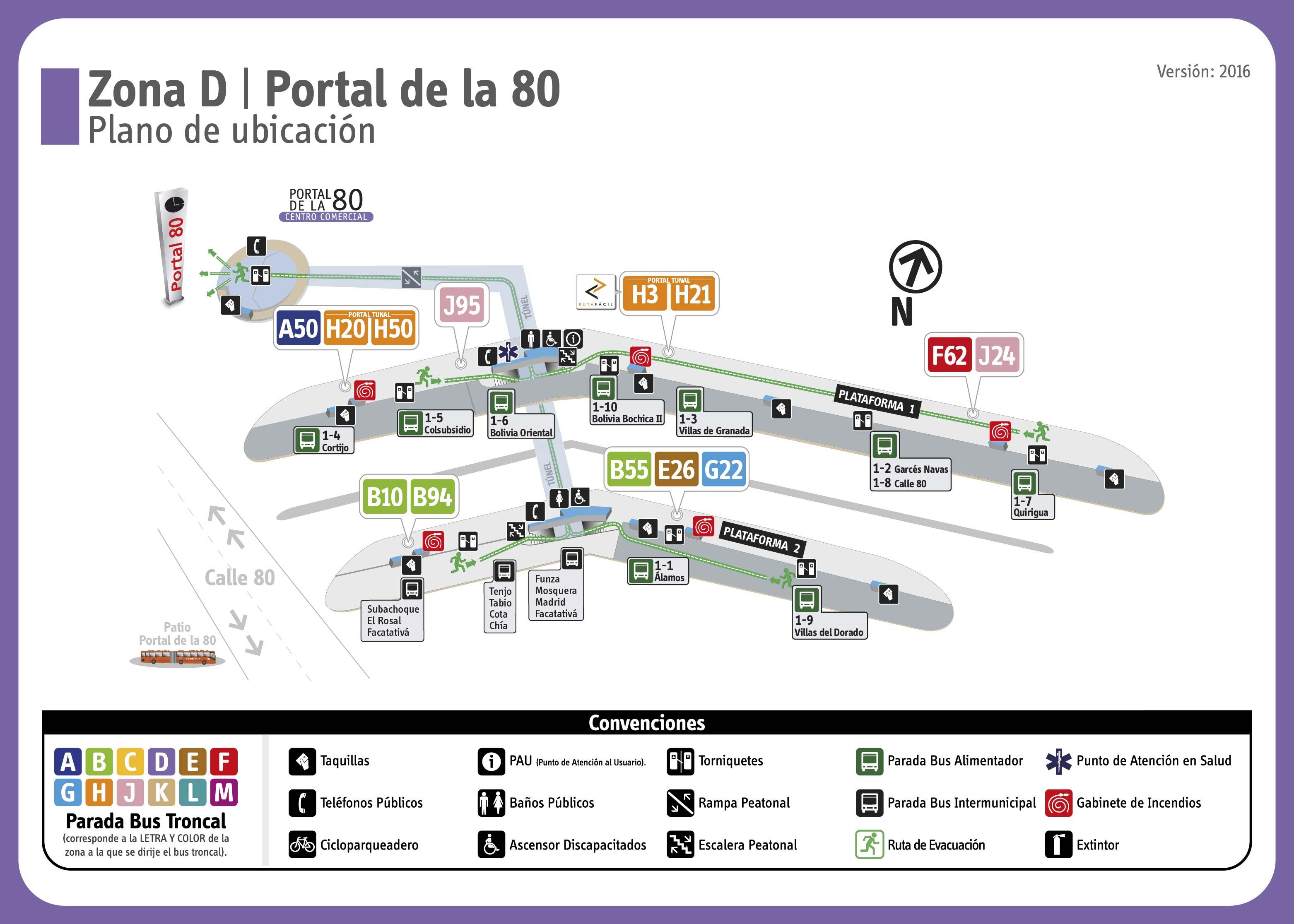 Mapa de rutas para Transmilenio - Portales