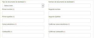 Vista previa del formulario de registro