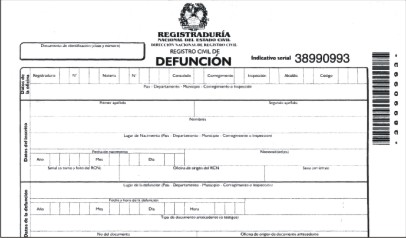Registro civil de defuncion