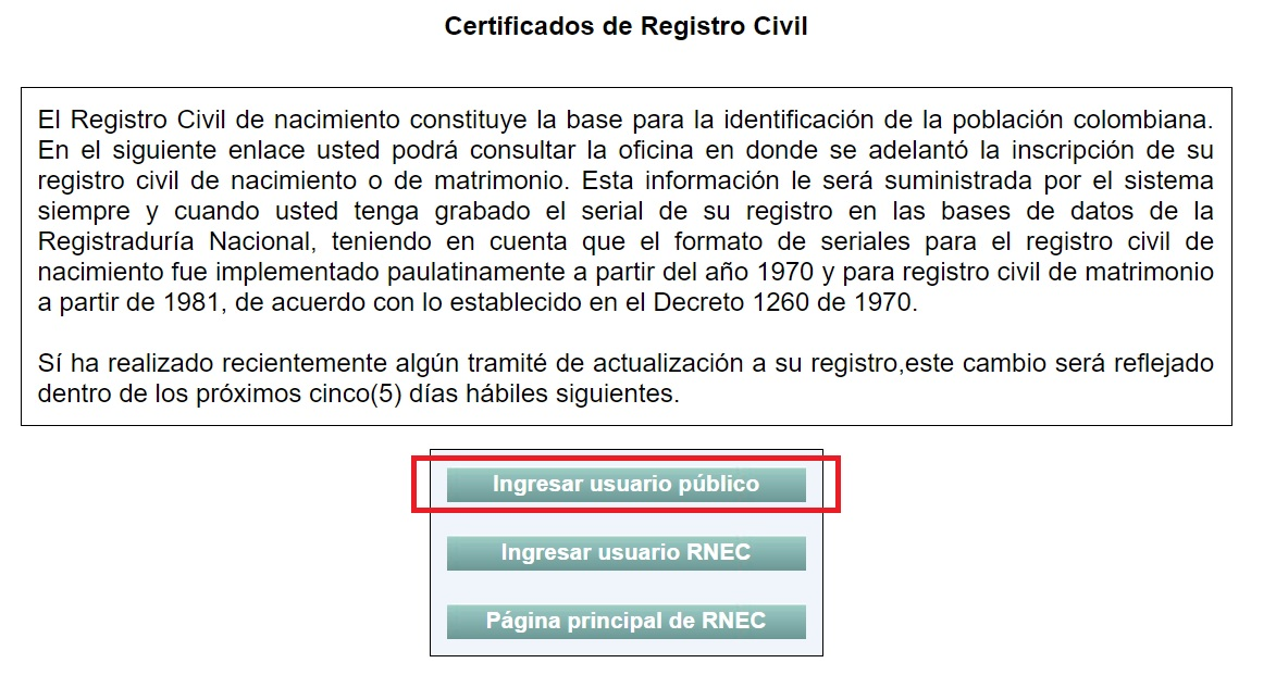 registro civil en linea colombia