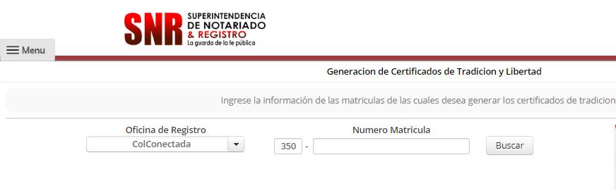 Certificado de tradición y libertad por Internet 2