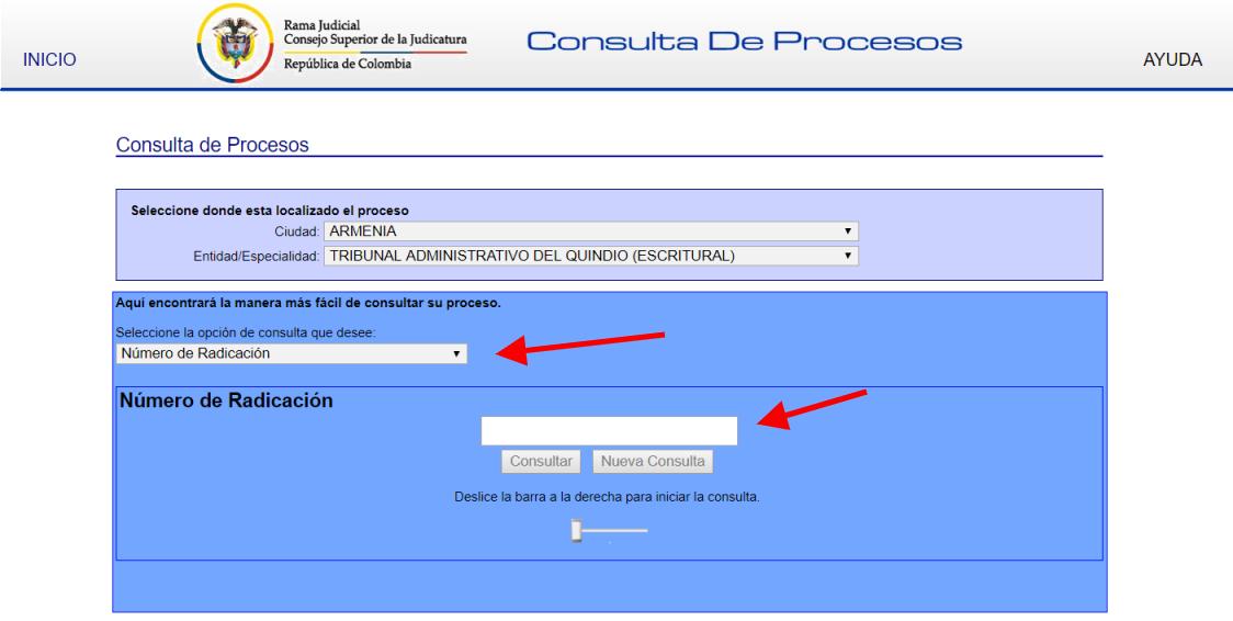 Consultar proceso judicial por número de radicación
