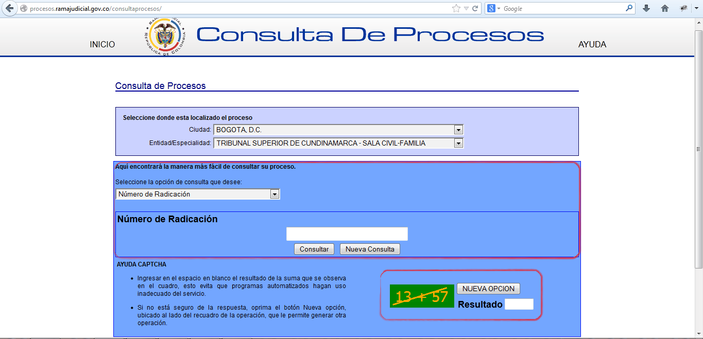 Consulta proceso juridico con radicado