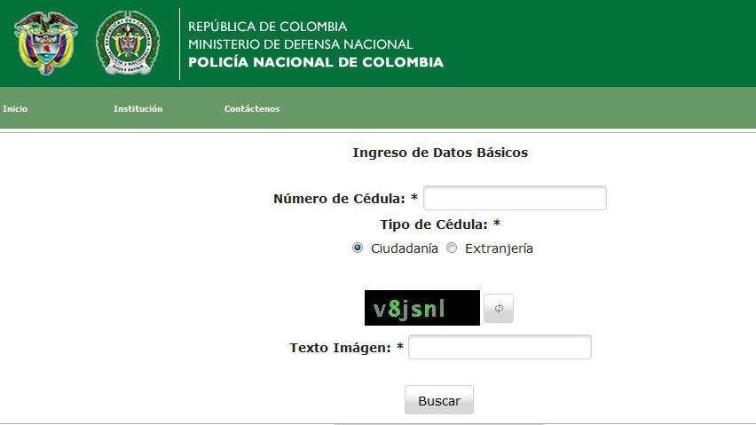 Antecedentes de una persona en Colombia