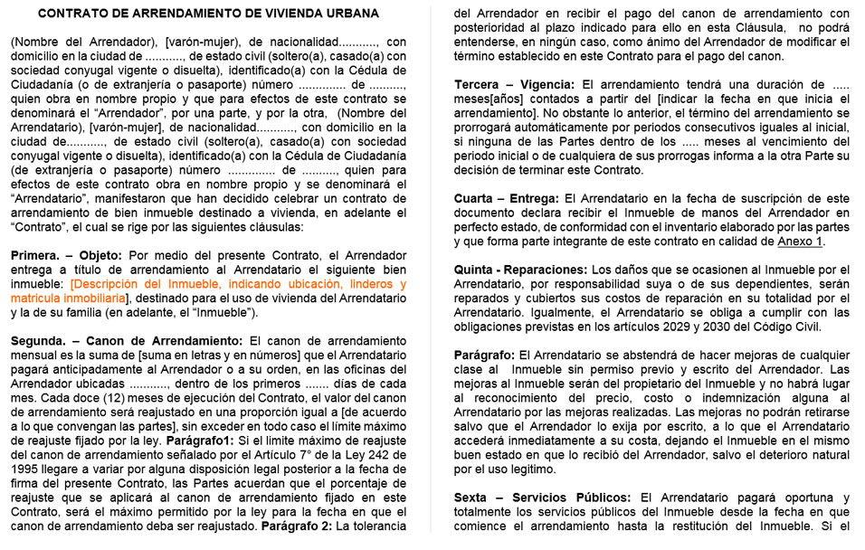 Contrato De Arrendamiento De Vivienda Plantilla En Word