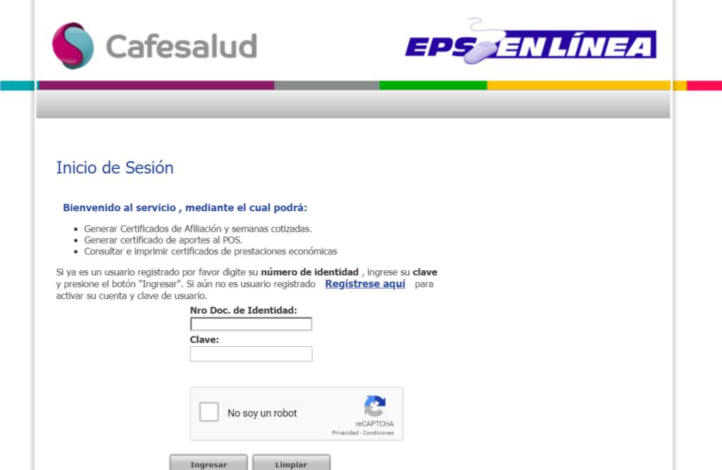 Cafesalud EPS, pedir citas por Internet 1