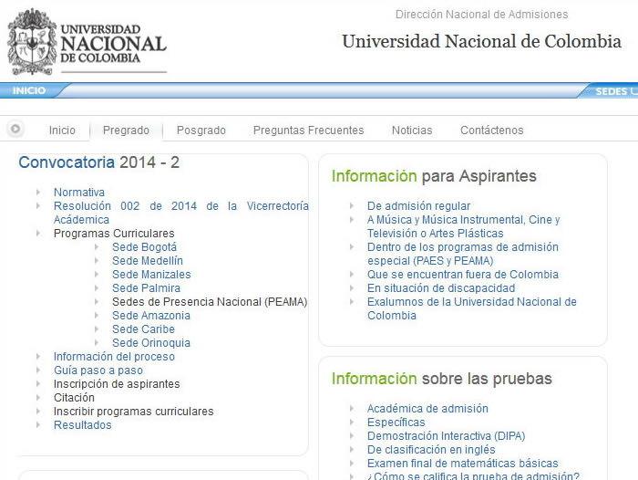 Portal web de admisiones Universidad Nacional