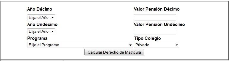 Formulario para calcular valor de matricula