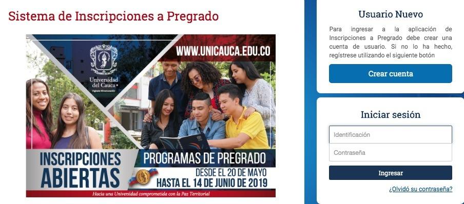Universidad del Cauca: Inscripción y admisiones 1