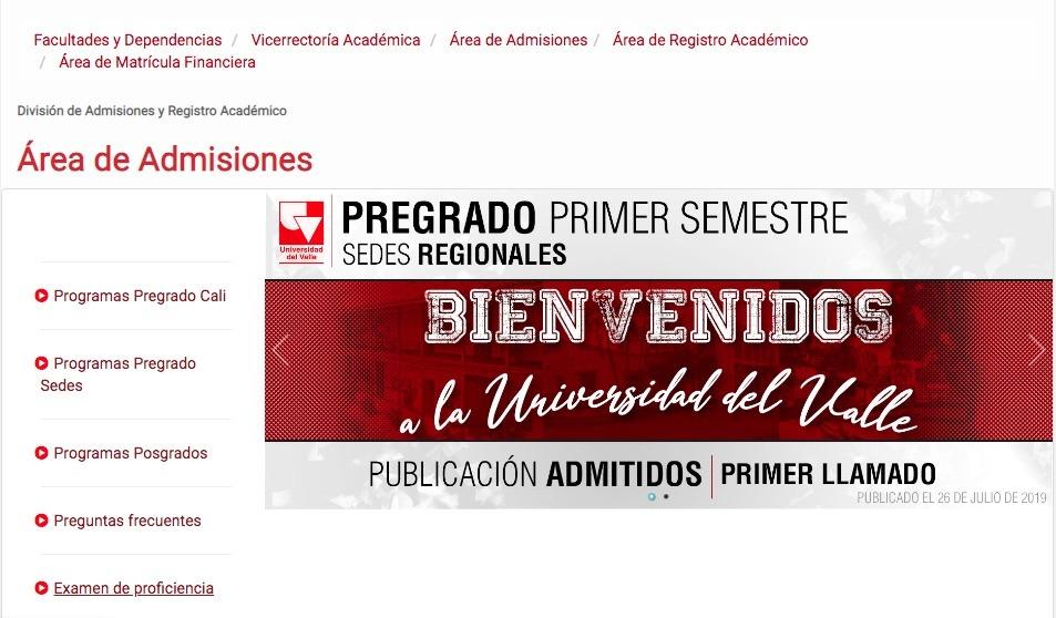 Universidad del Valle: Admisión 1