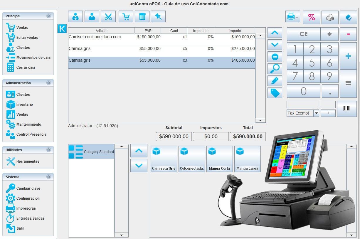 PC, Impresora térmica y cajón monedero con Unicenta
