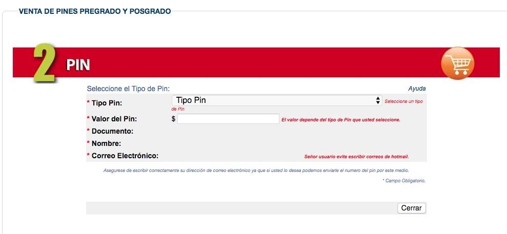 Universidad Tecnológica de Pereira: Proceso de inscripción 1