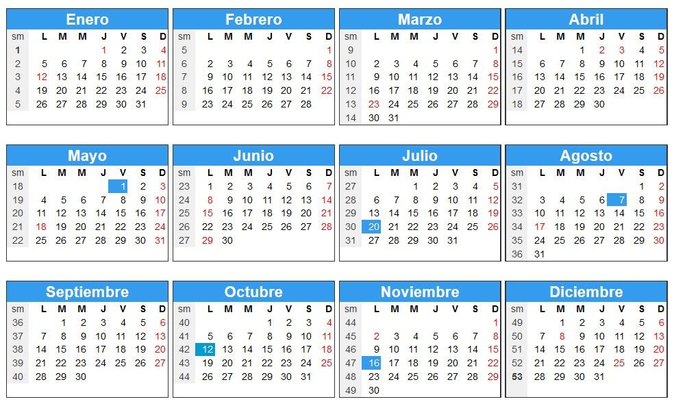 Calendario 2015 para Colombia - Días festivos en Colombia