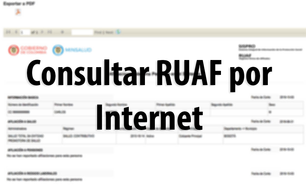 RUAF: Consulta de afiliaciones en salud, pensión o cesantías 2