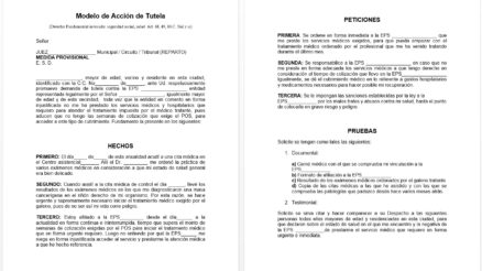 Acción de tutela en Colombia - Plantilla en Word 3