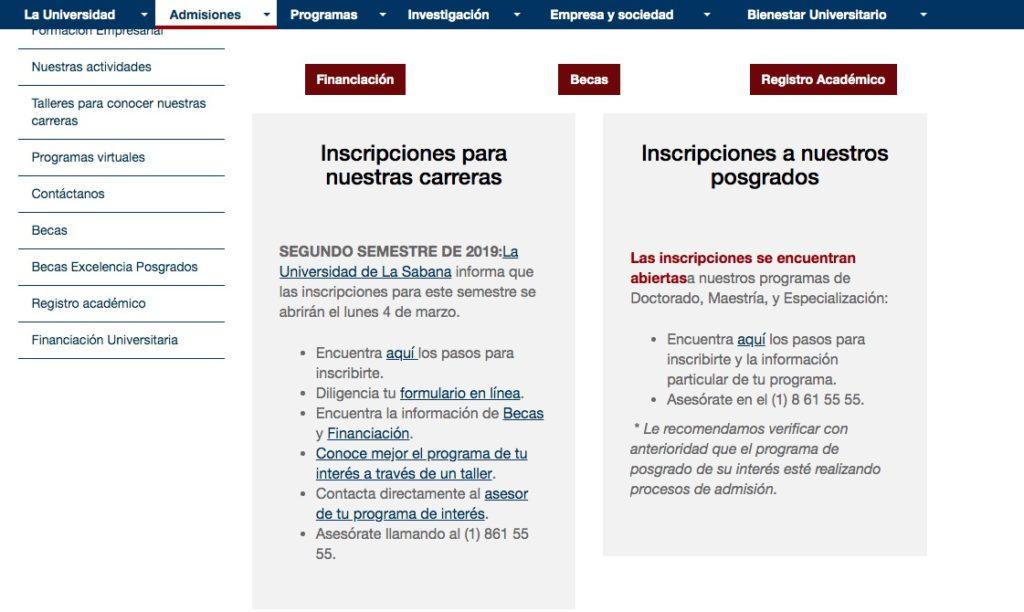 Universidad de la Sabana: Inscripción y programas académicos 1