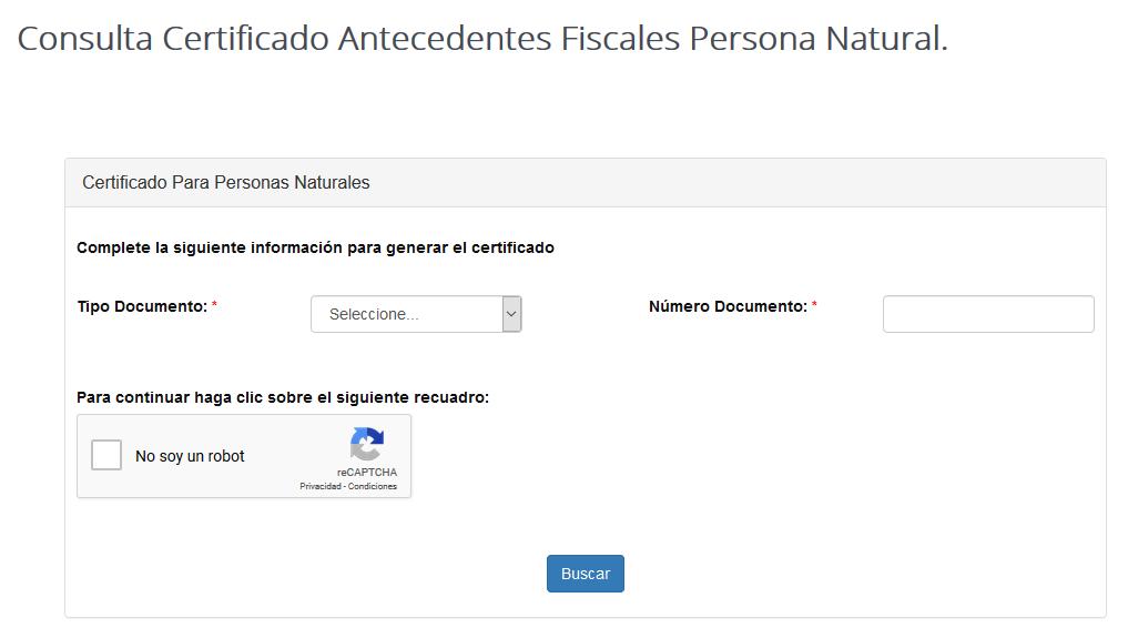 Certificado de Antecedentes Fiscales en la Contraloría 1
