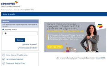 Vista previa de la plataforma de Bancolombia