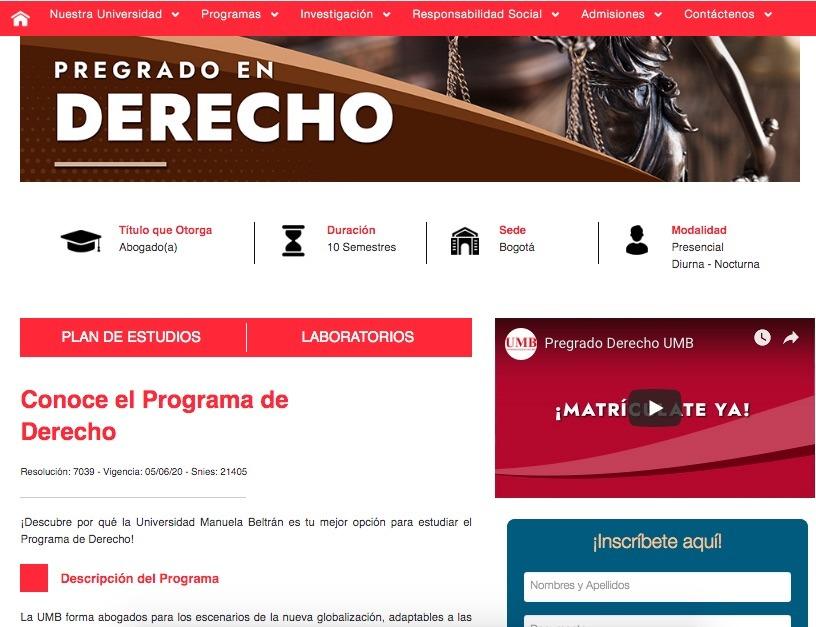 Universidad Manuela Beltrán: Proceso de inscripción 1