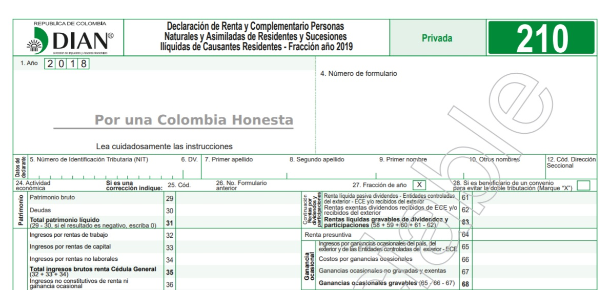 Copia de la declaración de impuesto a la renta