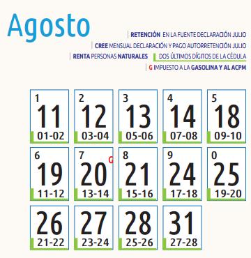 Agosto declaración de renta 2015