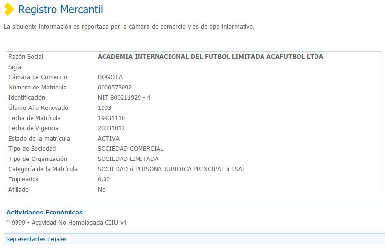 Registro Mercantil de una empresa en RUES