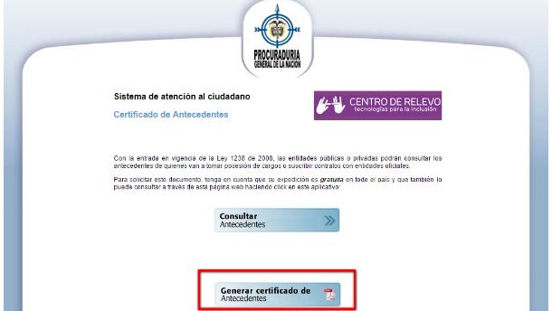 Generar certificado de antecedentes