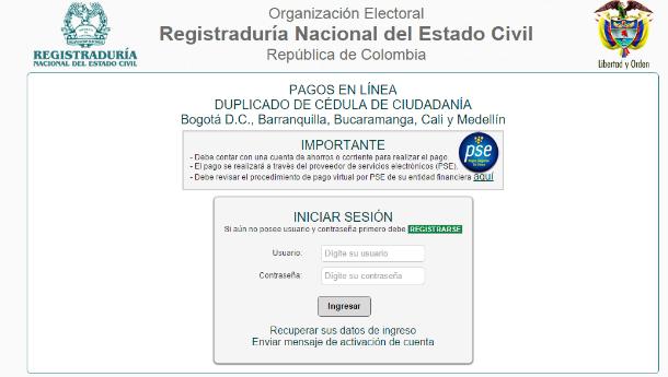 PSE Duplicado de Cédula por internet