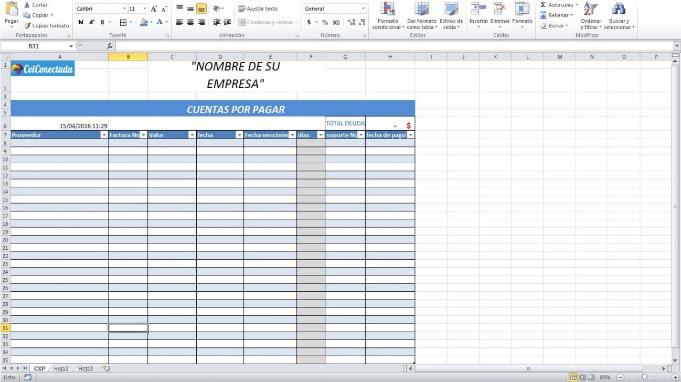 Plantilla Excel: Cuentas por cobrar y pagar