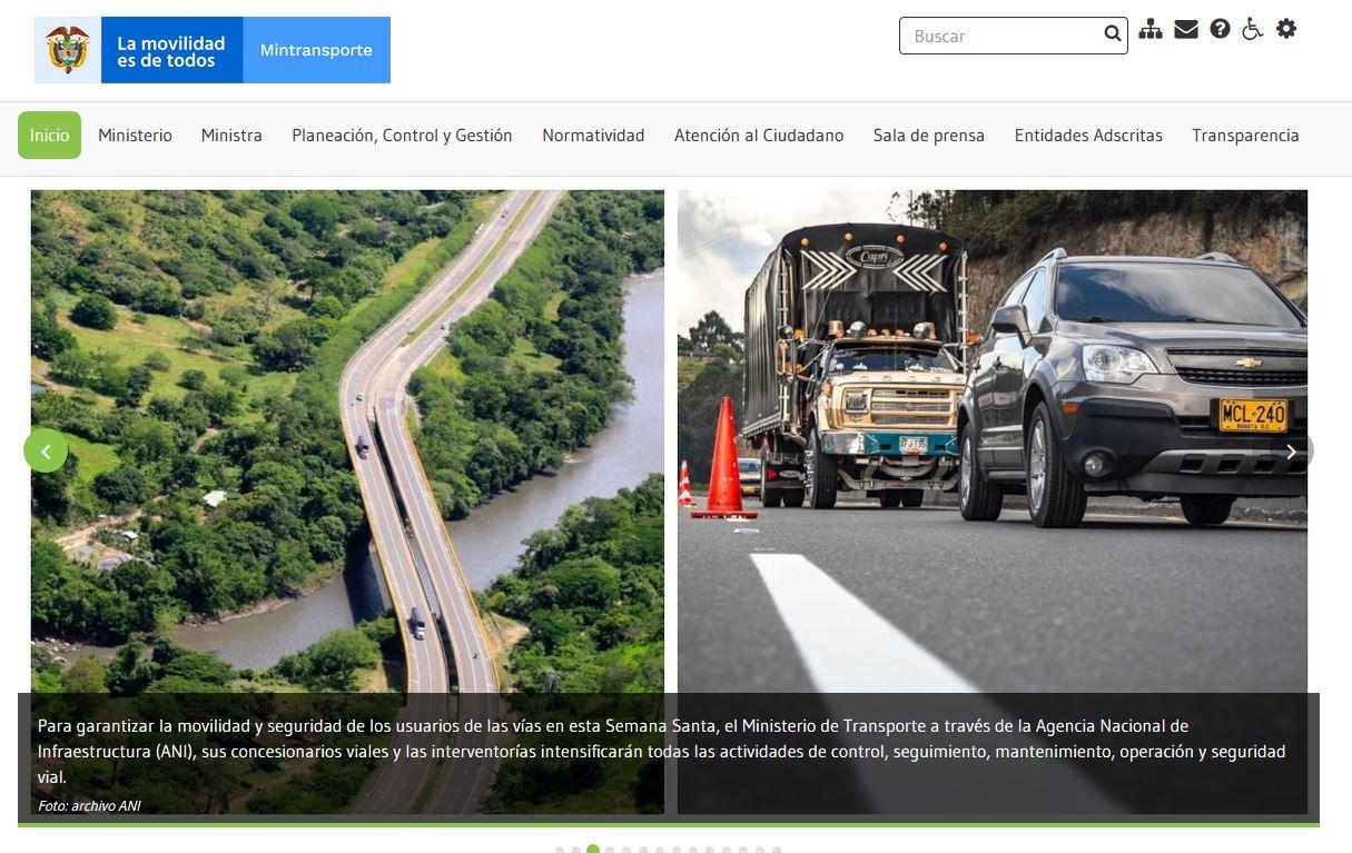 Sitio web del Ministerio de Transporte