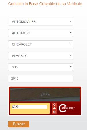 tabla de avalúos de vehículos