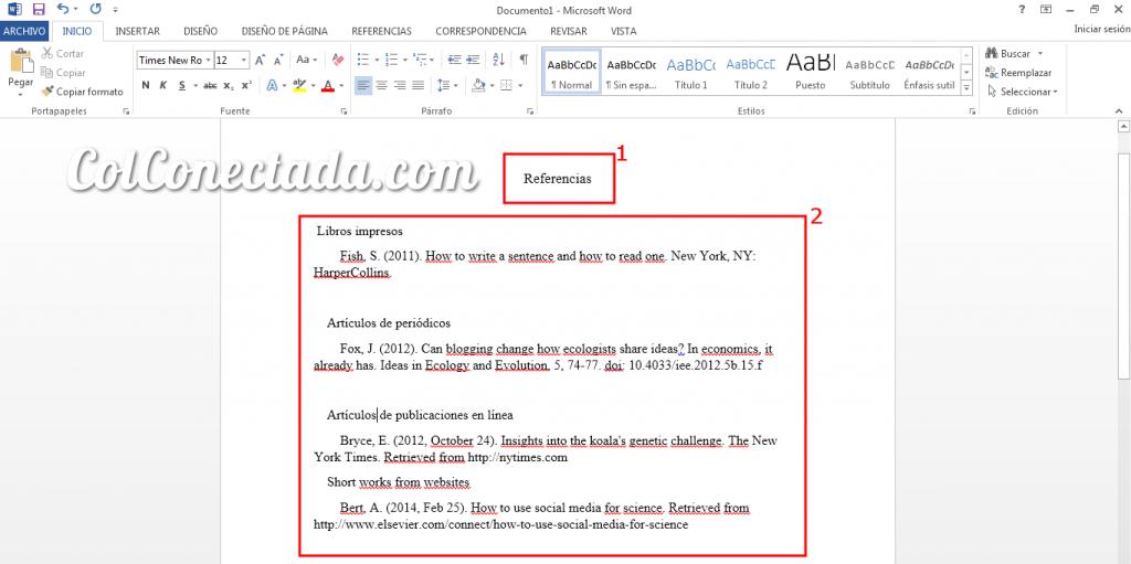Texto de referencias bibliograficas en Word con las Normas APA