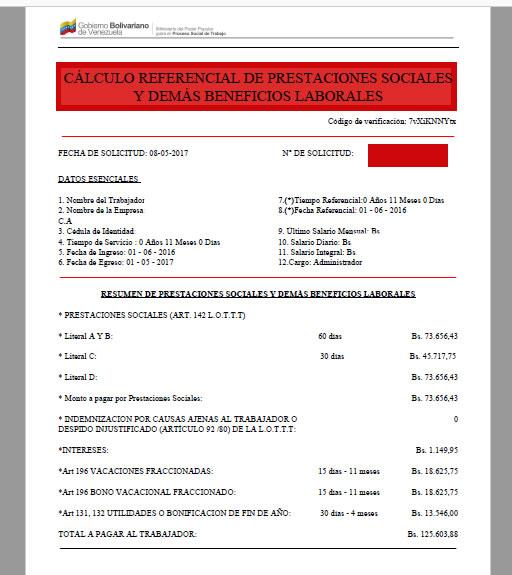 Resultado de la consulta en PDF de calcular las prestaciones sociales