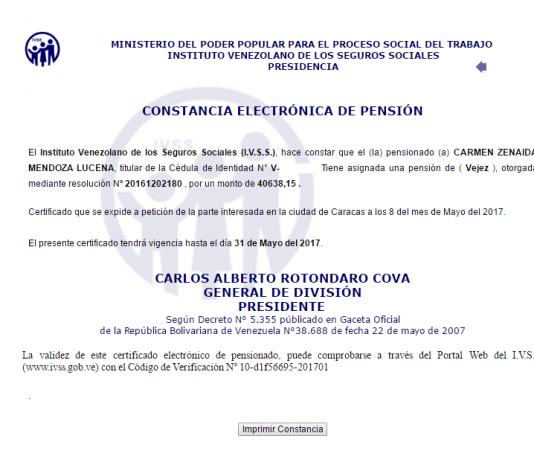 Constancia de pensión