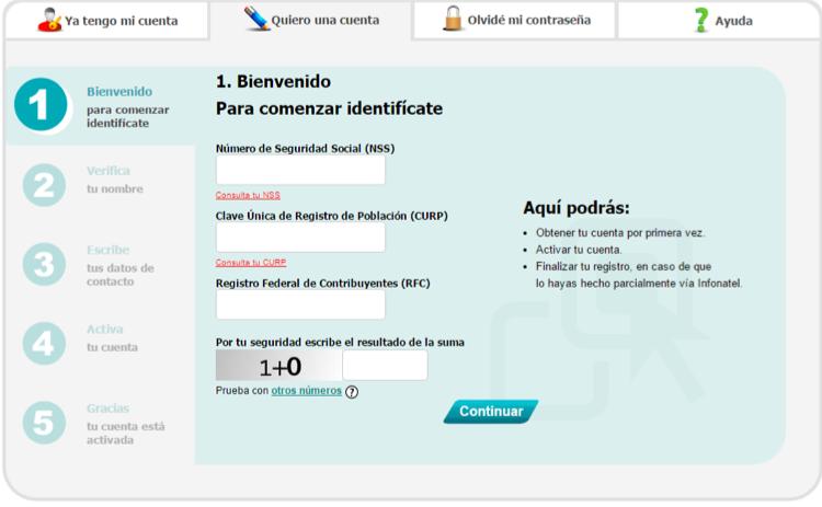 Registro en el sitio web de Infonavit