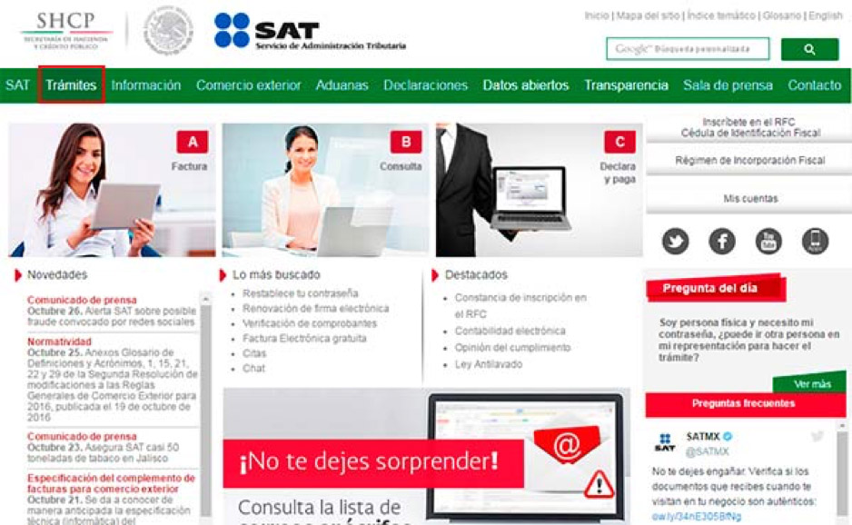 Trámites en el portal del SAT
