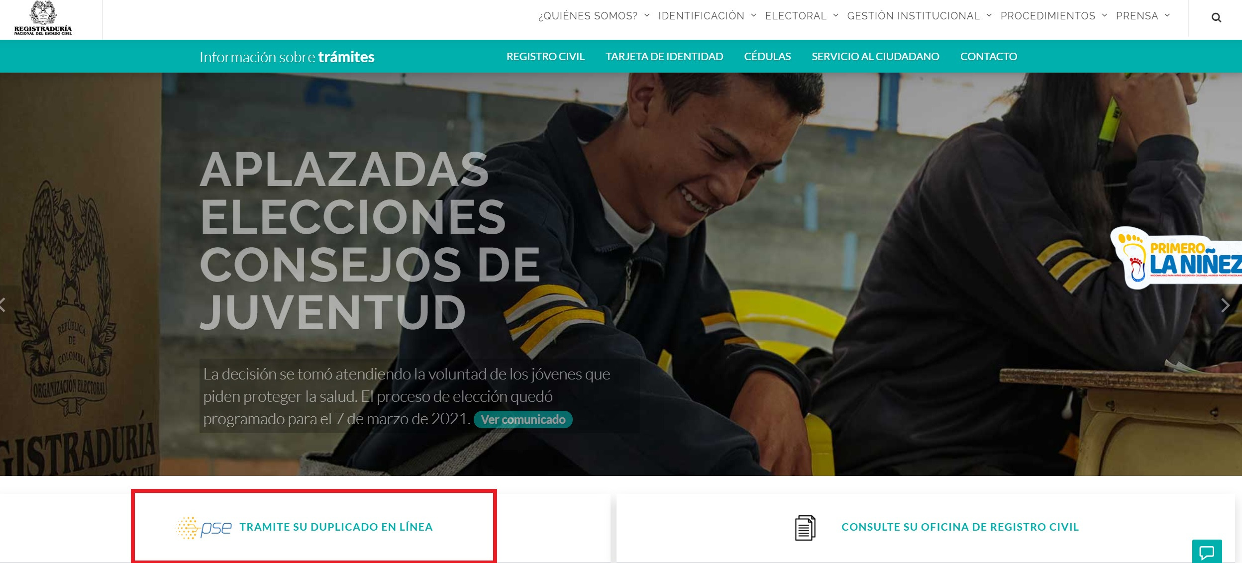 Sección de cédulas en el sitio web de la Registraduría