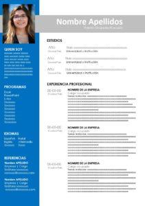 Formato curriculum vitae color azul y negro