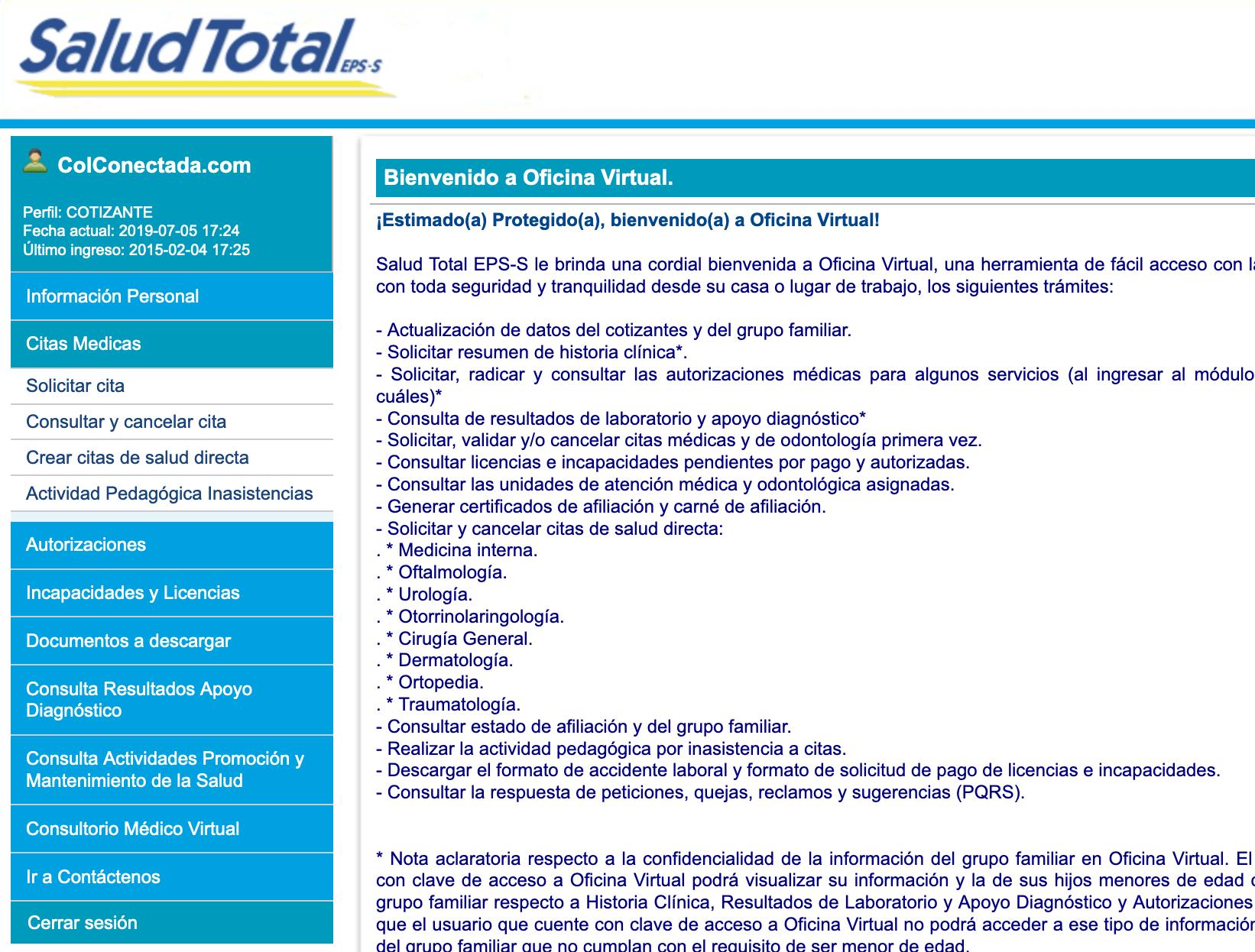 Salud Total EPS: Citas y autorizaciones por Internet 4
