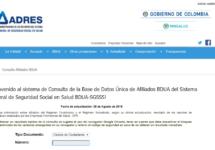 Consulta de afiliados a salud en Fosyga (ADRES)