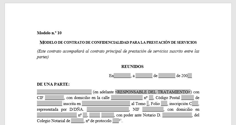 Modelo de contrato de confidencialidad