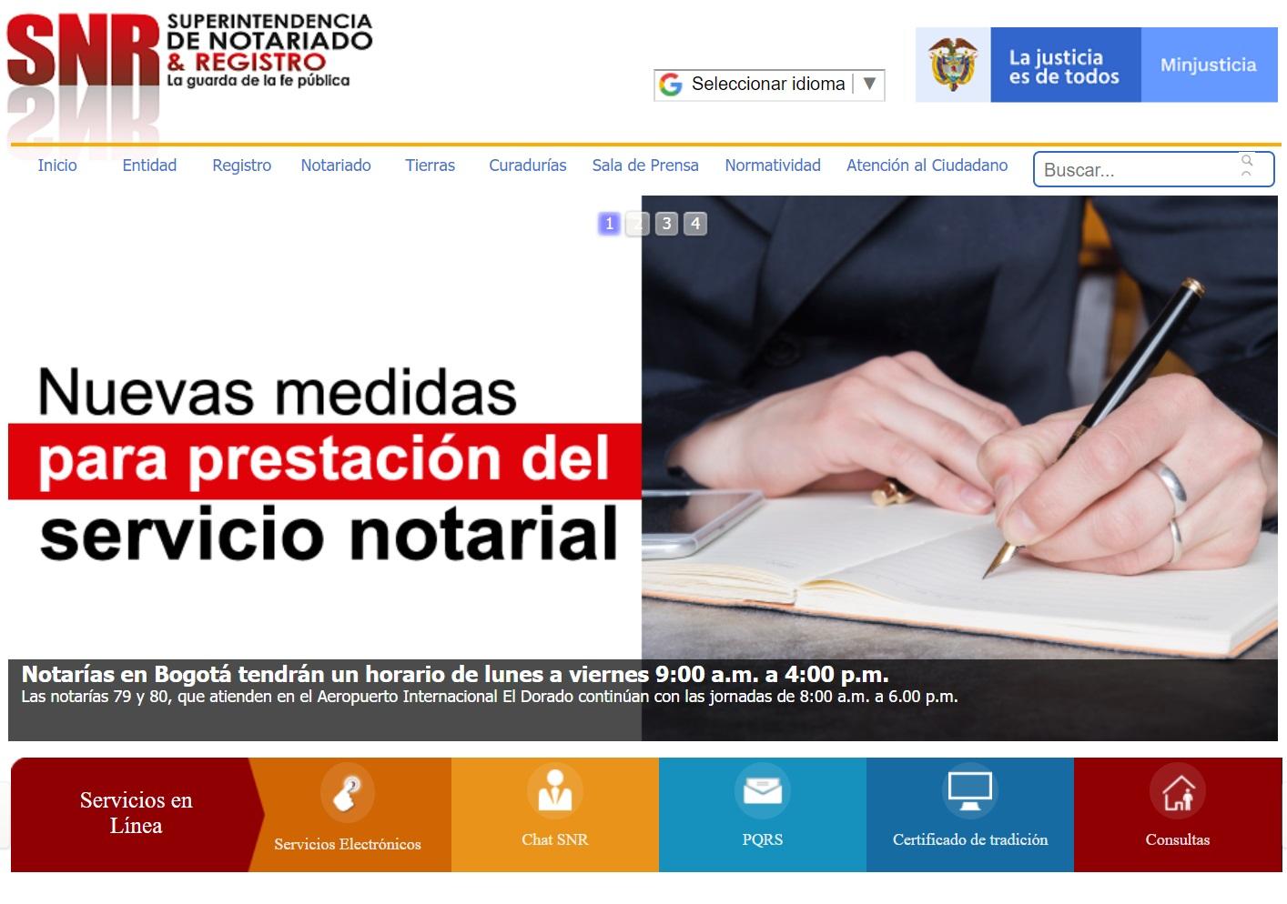 Vista previa de la página web de la Superintendencia de Notariado y Registro