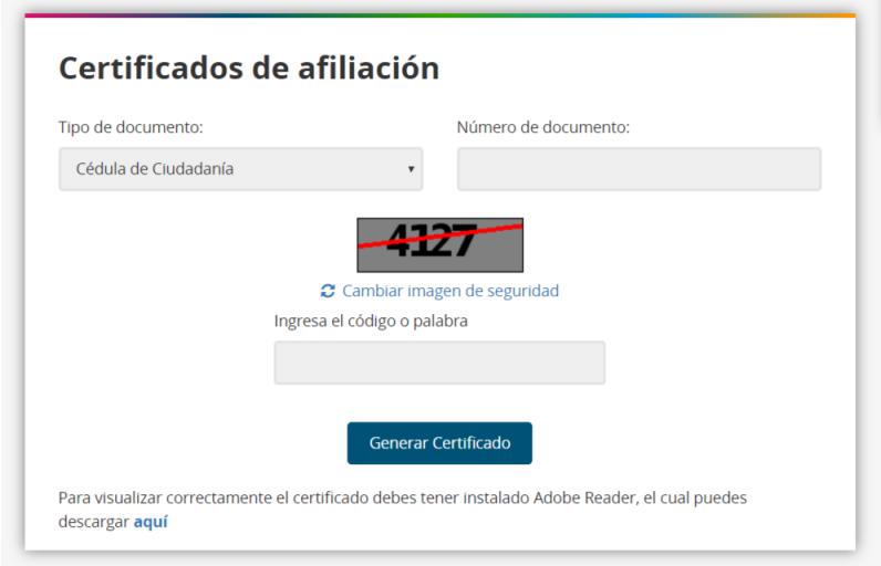 Certificado de afiliación Colfondos