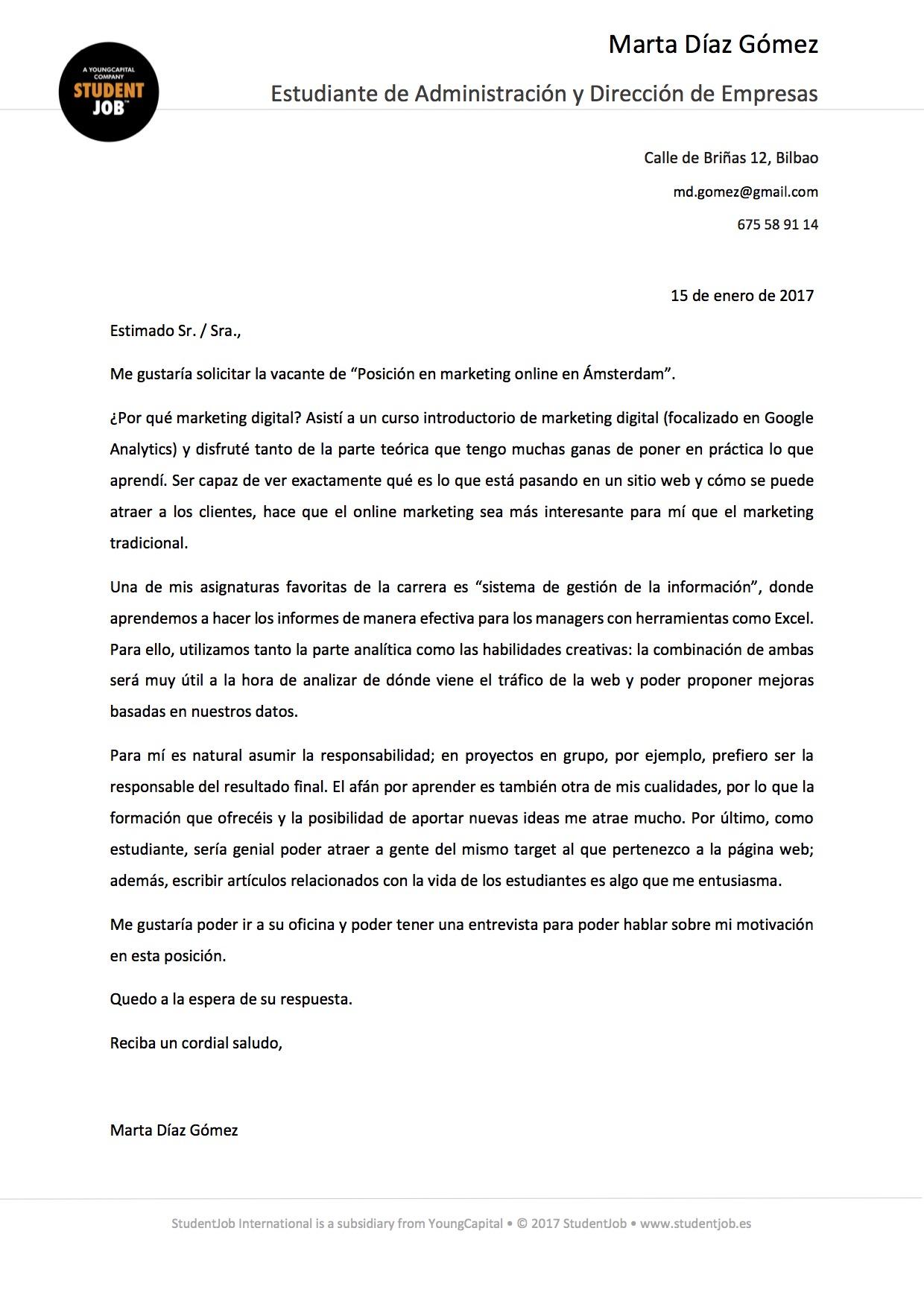 Ejemplo de carta de presentación para prácticas