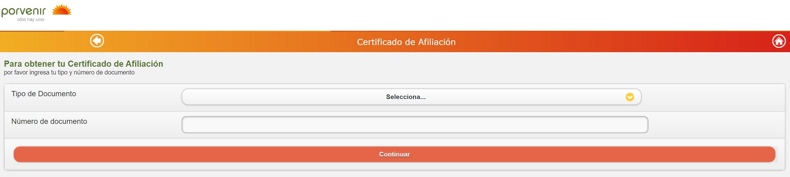 Descargar certificado de afiliación porvenir