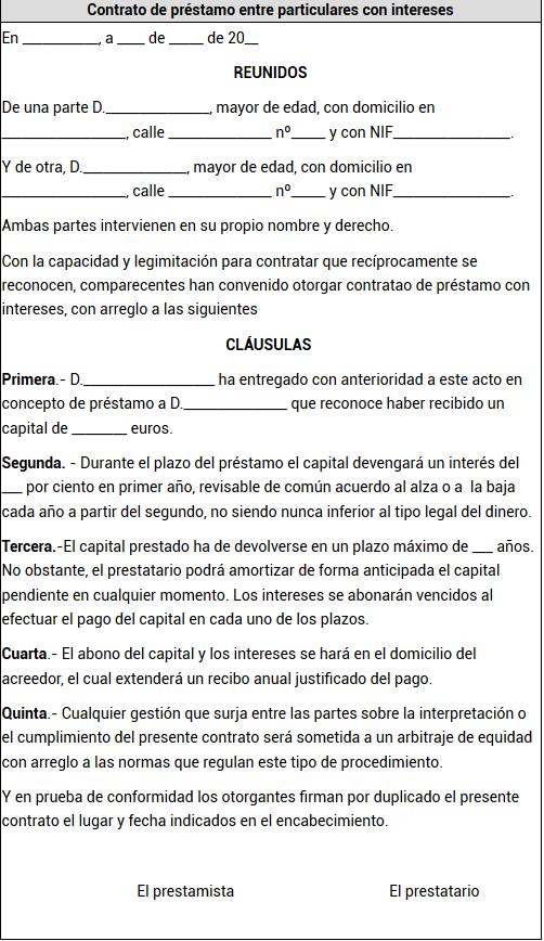 Formato contrato de préstamo de dinero 2