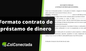 Formato contrato de préstamo de dinero