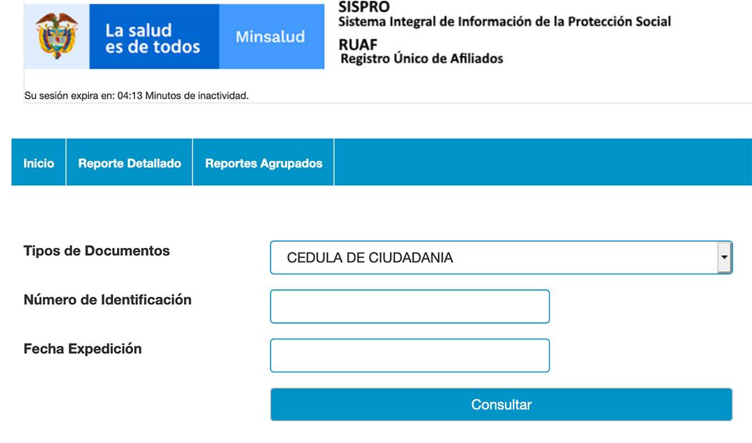 Formulario de consulta del RUAF.