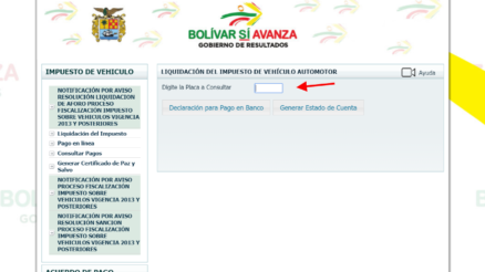 Impuesto de vehículos en Bolivar 2019
