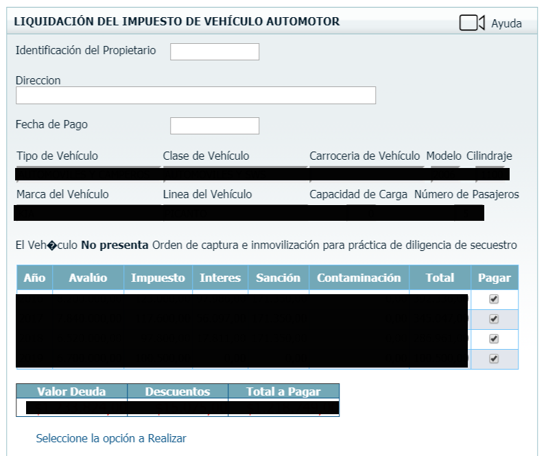 Impuesto vehicular en Bolívar 2019